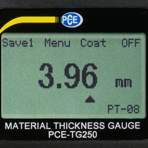 Ultraschallprüfgerät PCE-TG 250 Display