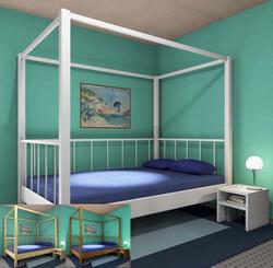 Himmelbett Veranda Dahlhaus Kiefer weiß, natur, schwarz, blau, gelaugt, nussbaum